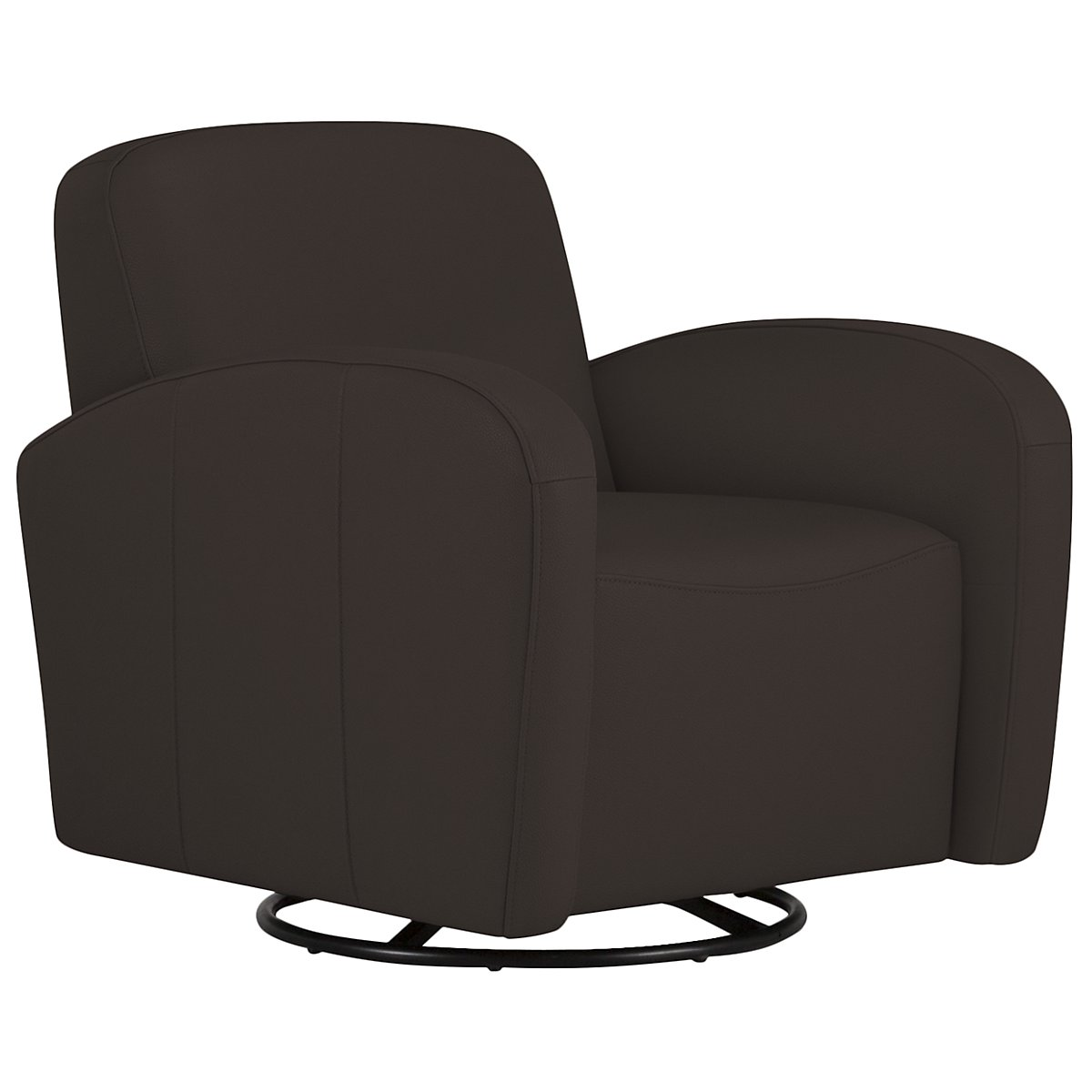 Axis Dark Brown Vinyl Swivel Accent Chair