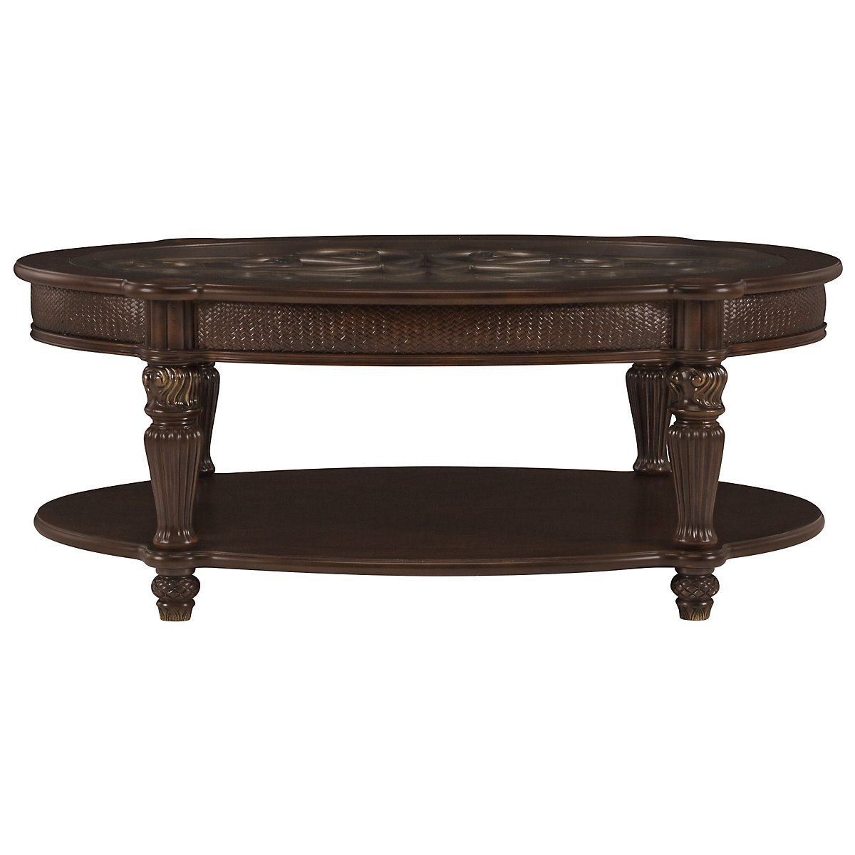 City furniture tradewinds dark tone metal oval coffee table for Small wood coffee table