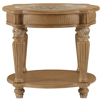 Tradewinds Light Tone Metal Round End Table