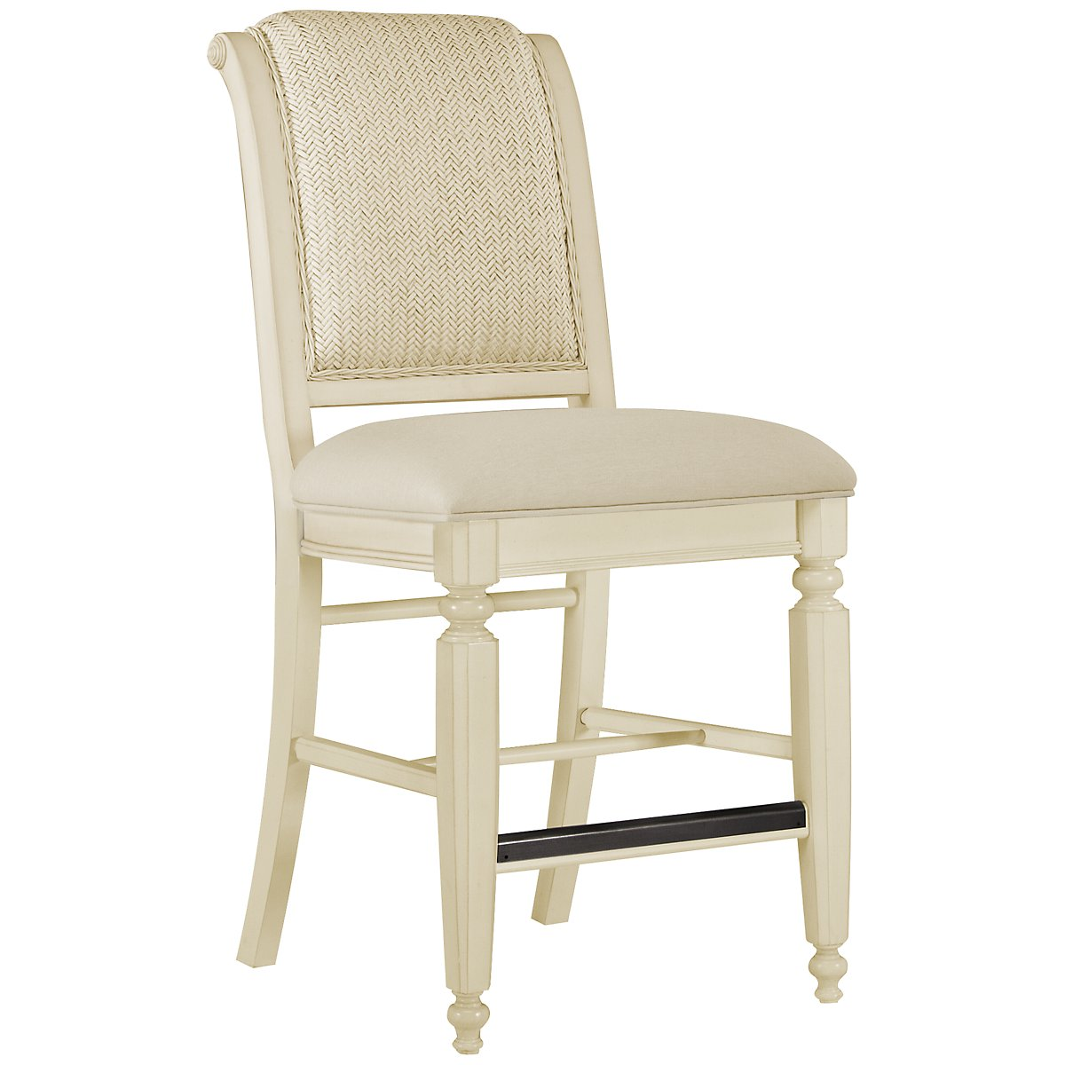 "Claire White 24"" Woven Barstool"