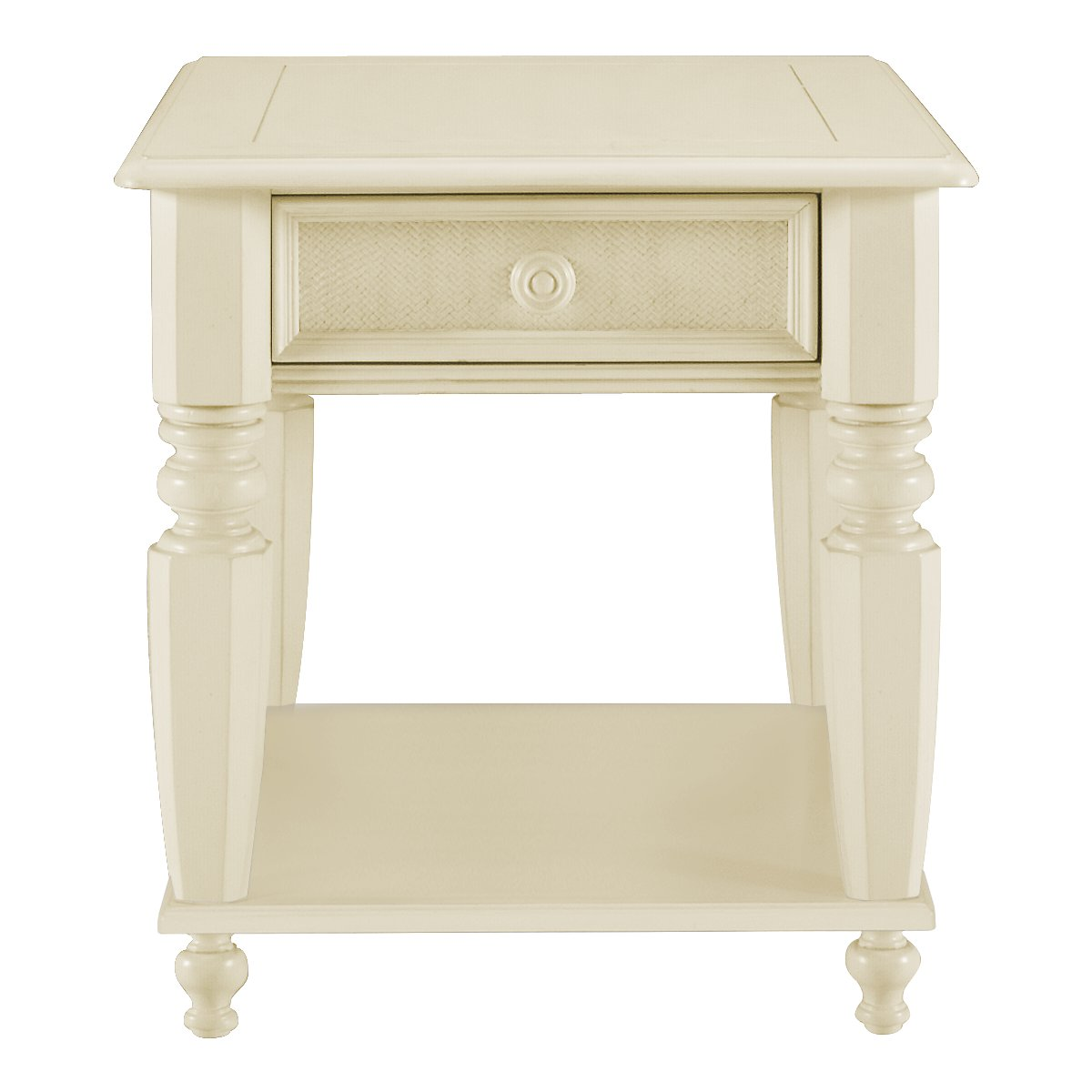 Claire White Woven Storage End Table