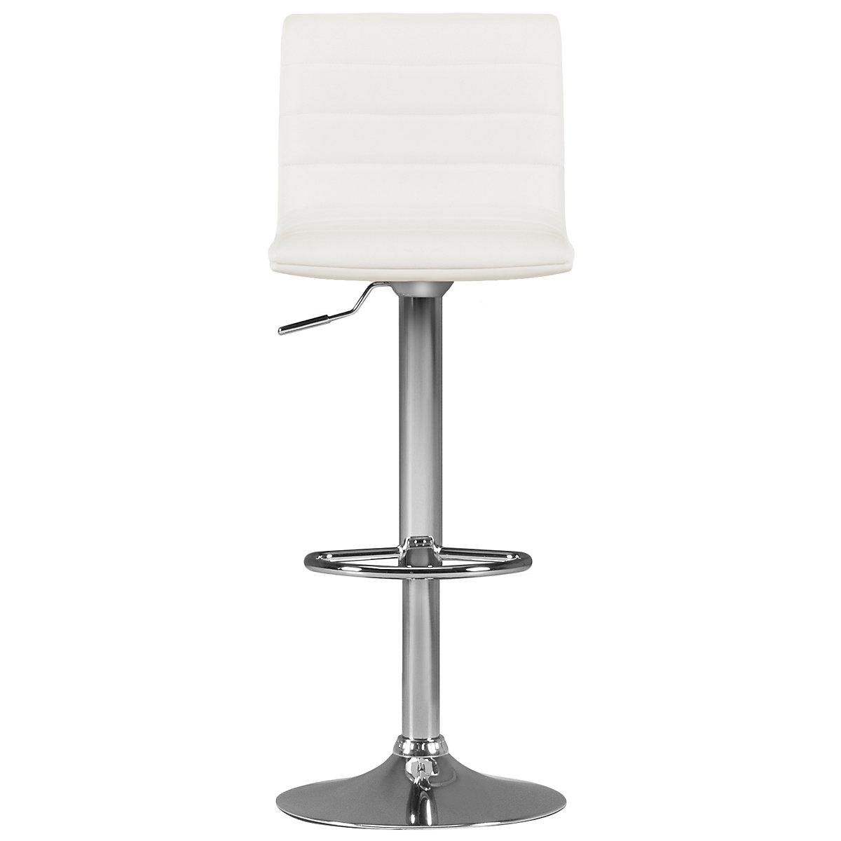 Motivo White Upholstered Adjustable Stool