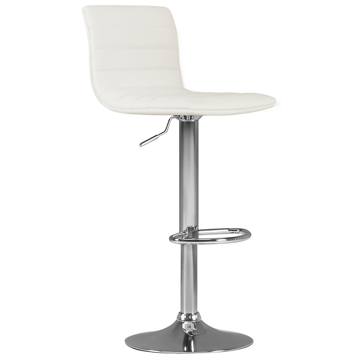 Motivo White Upholstered Adjustable Stool