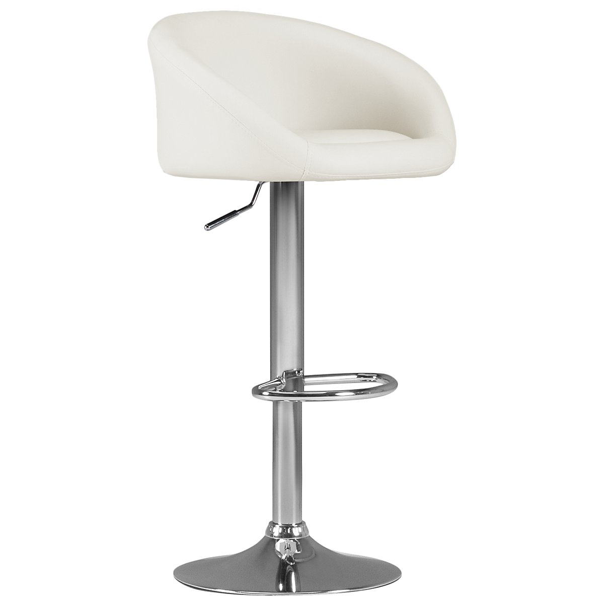 Dayton White Upholstered Adjustable Stool