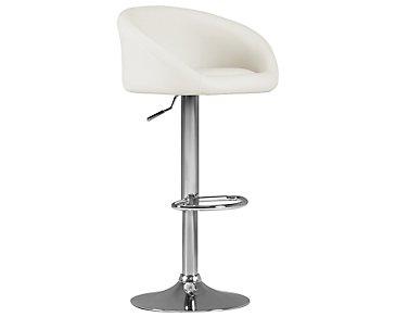 Dayton White Upholstered Adjustable Stool