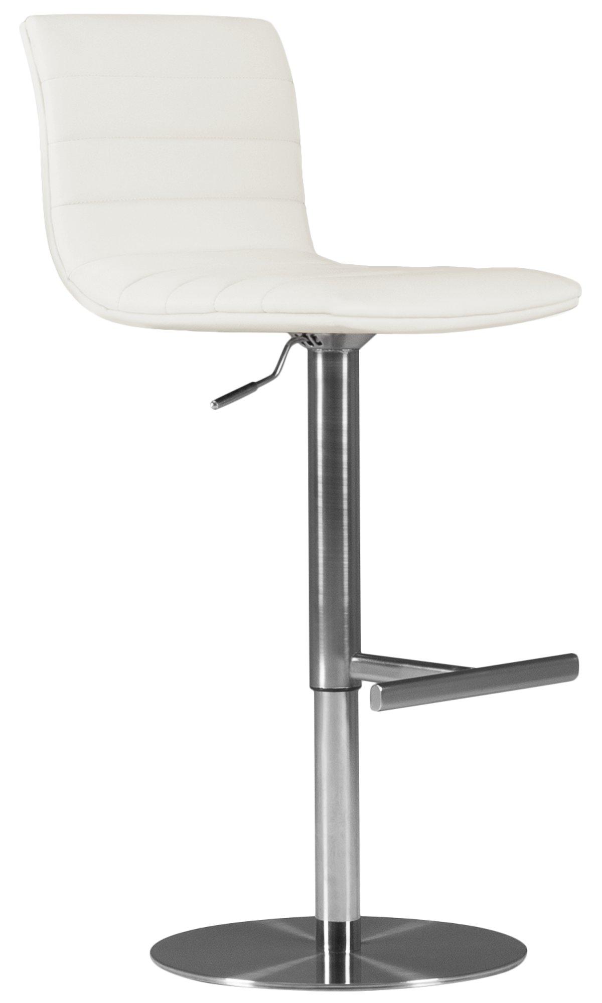 Ellis White Upholstered Adjustable Stool
