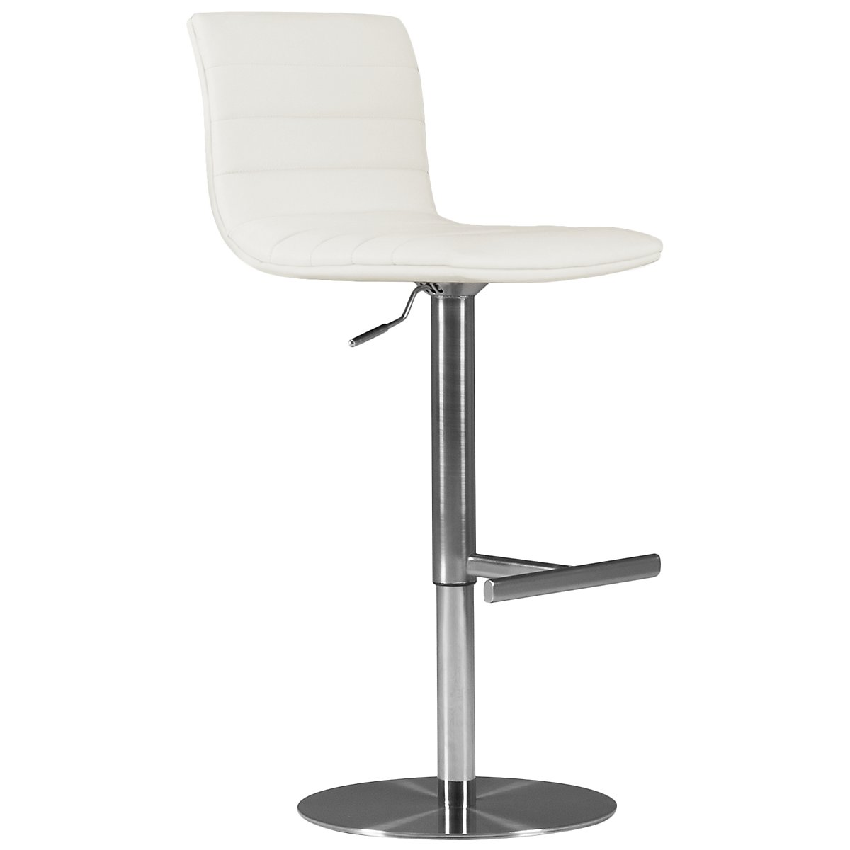 Ellis White Upholstered Adjustable Stool