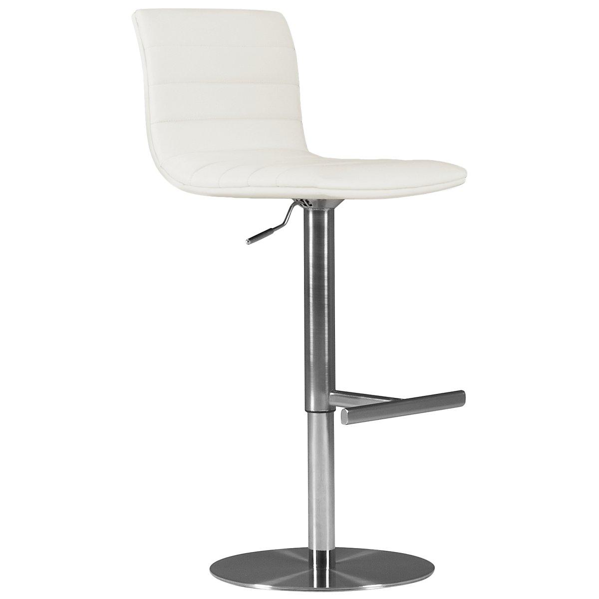 Ellis White Upholstered Uph Adjustable Stool