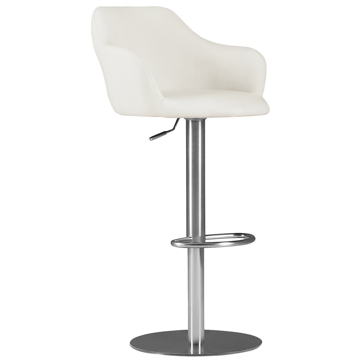 Hyde White Upholstered Adjustable Stool