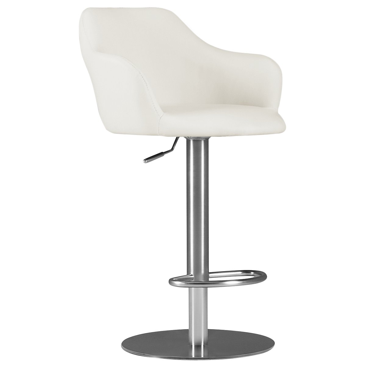 Hyde White Upholstered Adjustable Stool