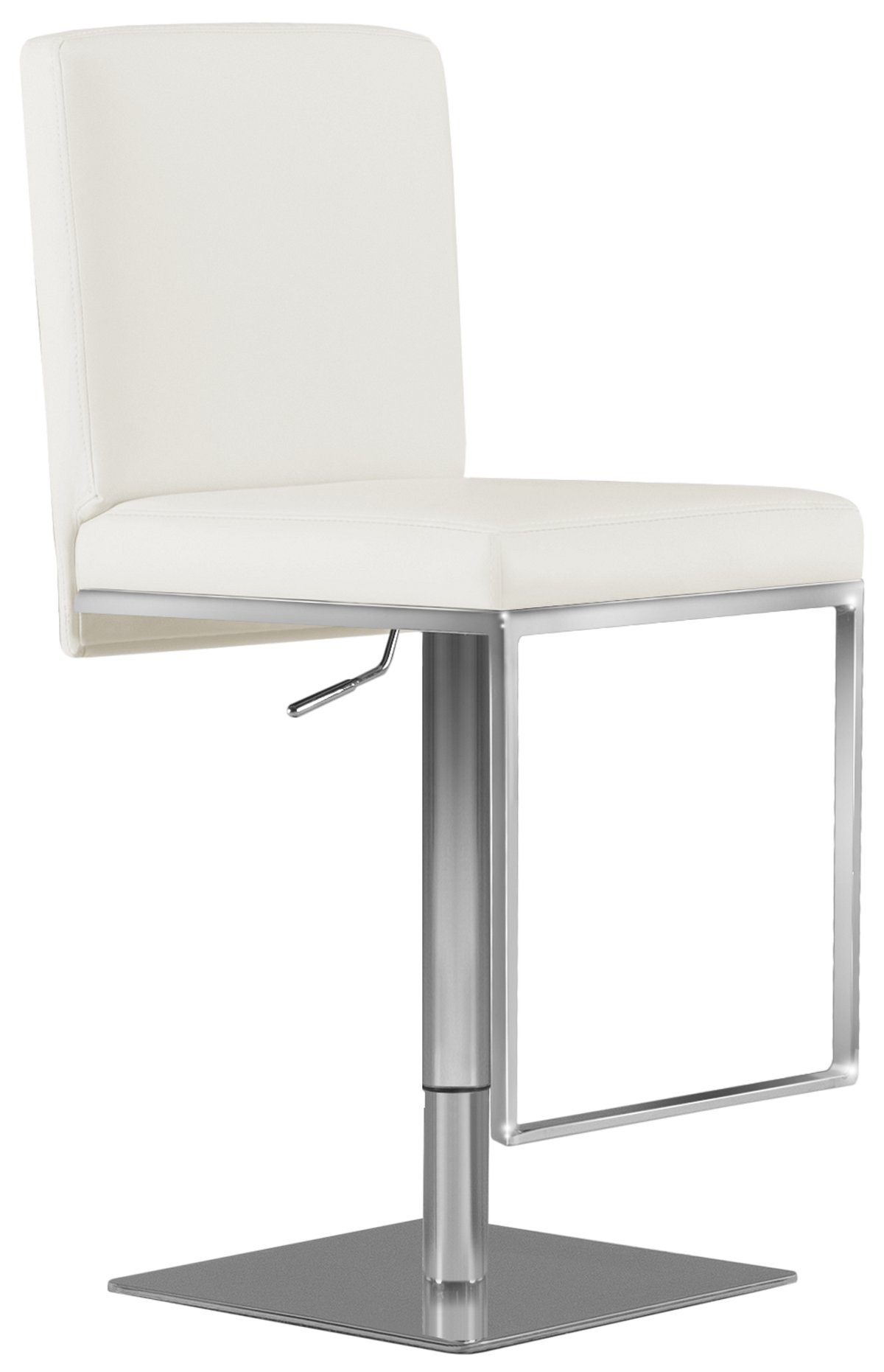 Berlin White Upholstered Adjustable Stool