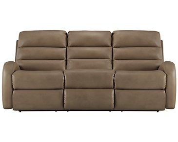 Carver Beige Microfiber Reclining Sofa