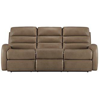 Carver Beige Microfiber Power Reclining Sofa