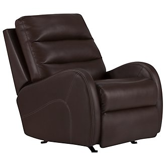 Carver Dark Brown Microfiber Power Rocker Recliner