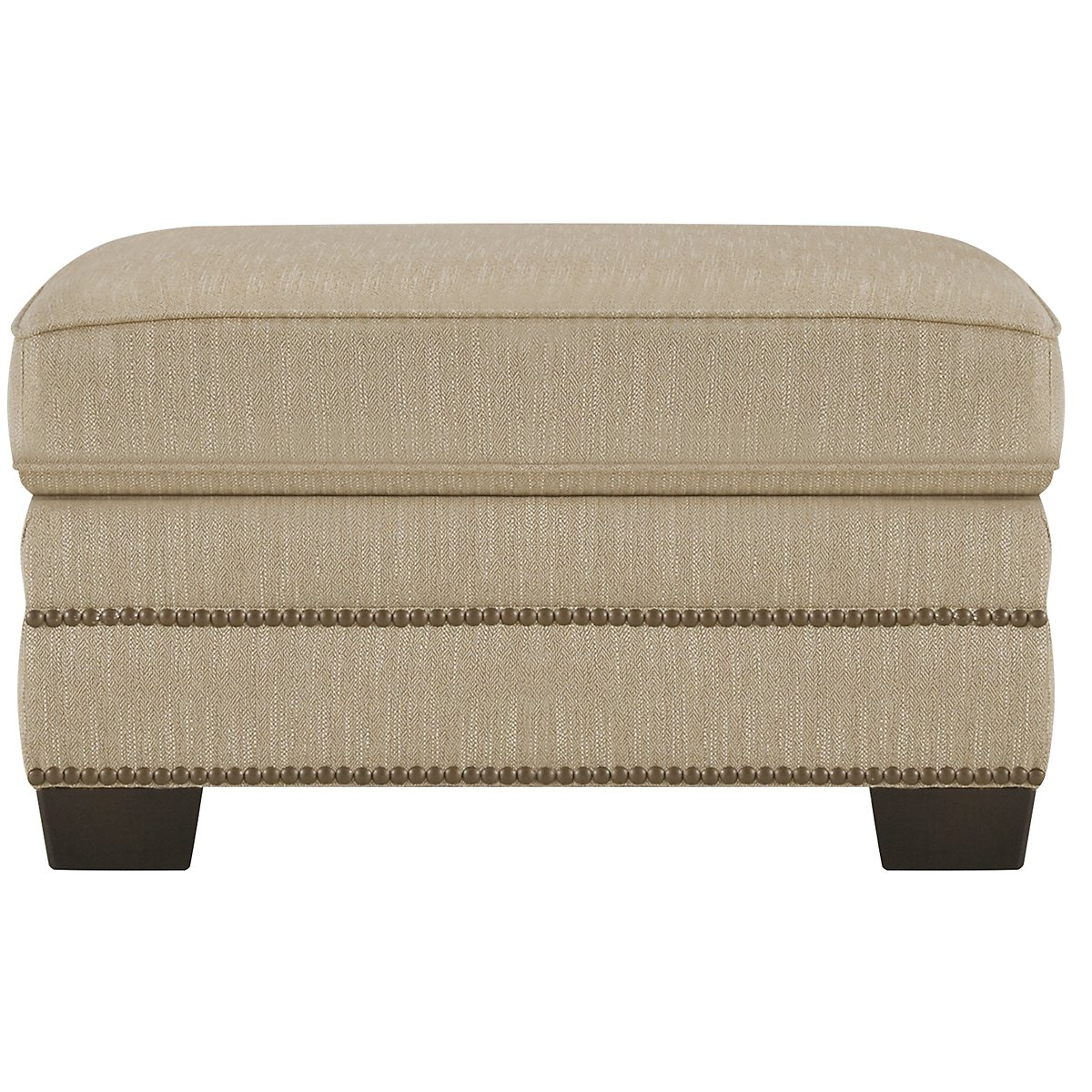 Erin Light Brown Fabric Ottoman