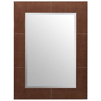 Ostrich Brown Leather Mirror