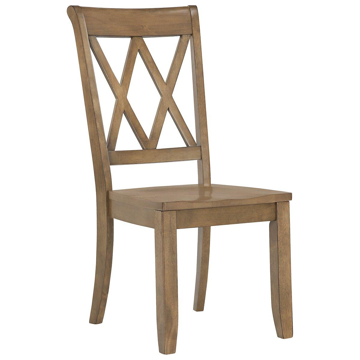 Vintage Light Tone Wood Side Chair