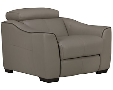 Alessi3 Dark Taupe Leather & Vinyl Power Recliner