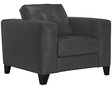 Elle Dark Gray Leather & Bonded Leather Chair