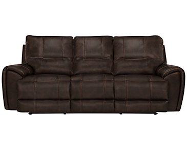 Nico Dark Brown Microfiber Power Reclining Sofa