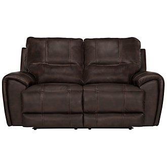 Nico Dark Brown Microfiber Power Reclining Loveseat