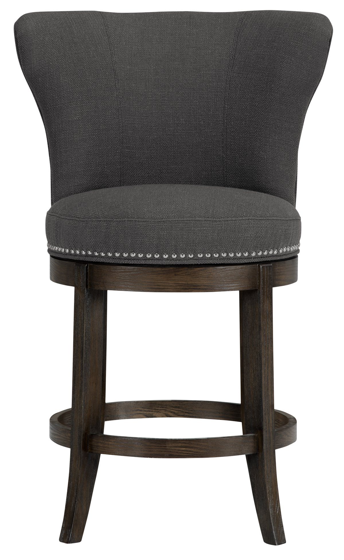 "Cayden Dark Gray Fabric 24"" Swivel Barstool"
