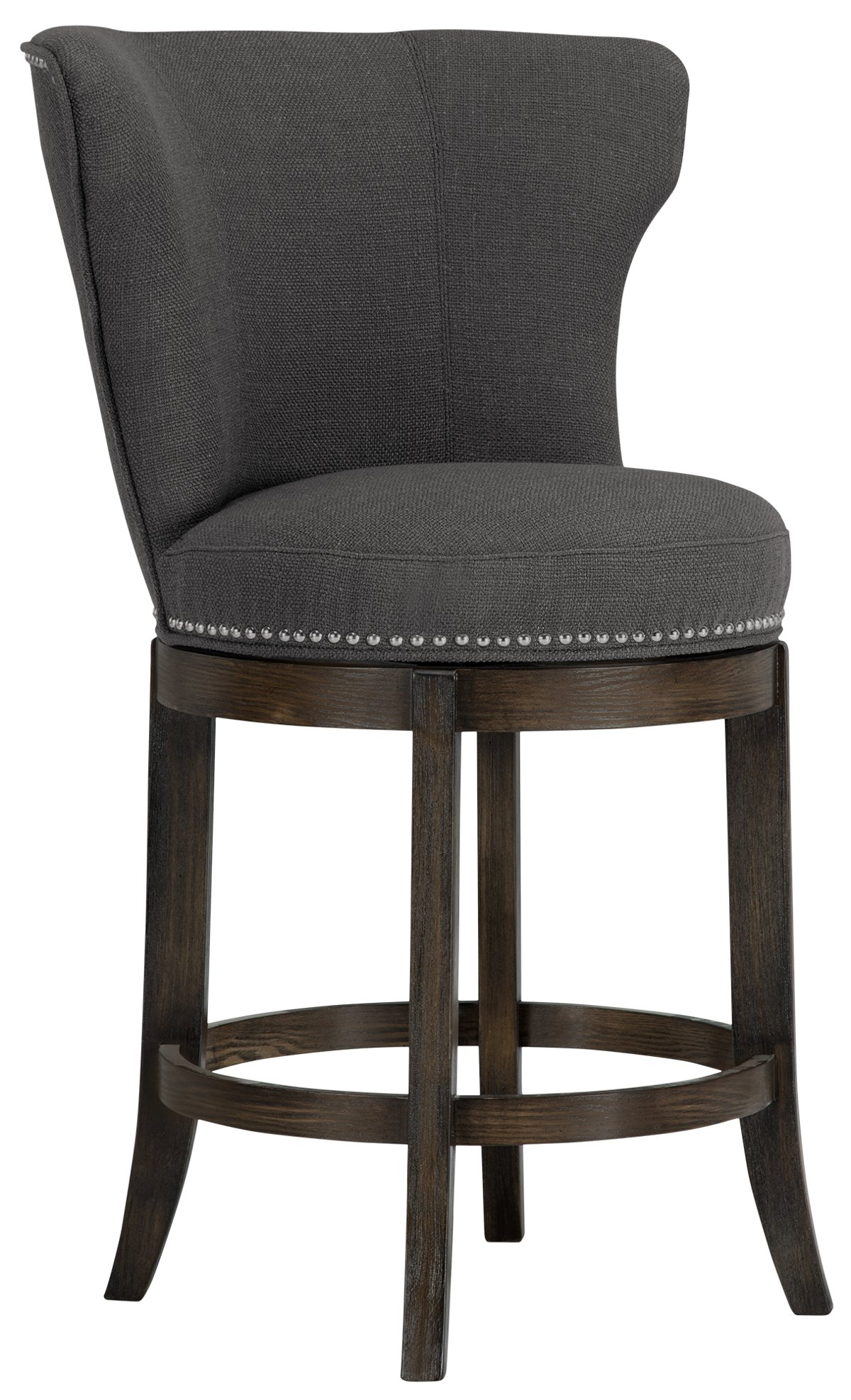 Cayden Dark Gray Fabric 24 Swivel Barstool