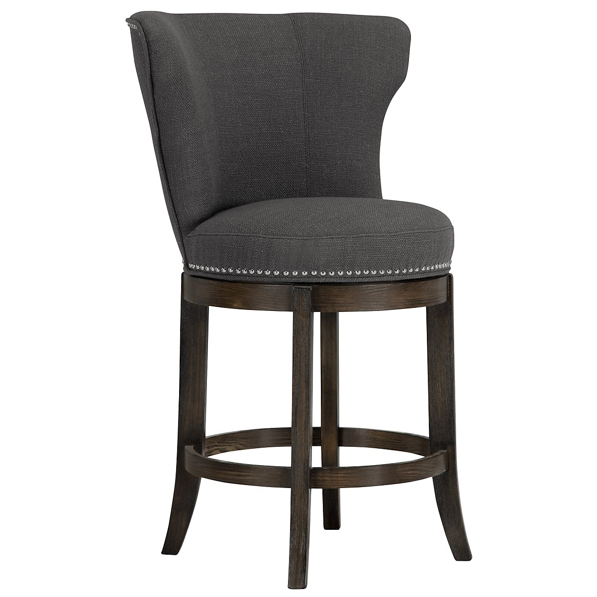 Cayden Dark Gray Fabric 24 Quot Swivel Barstool