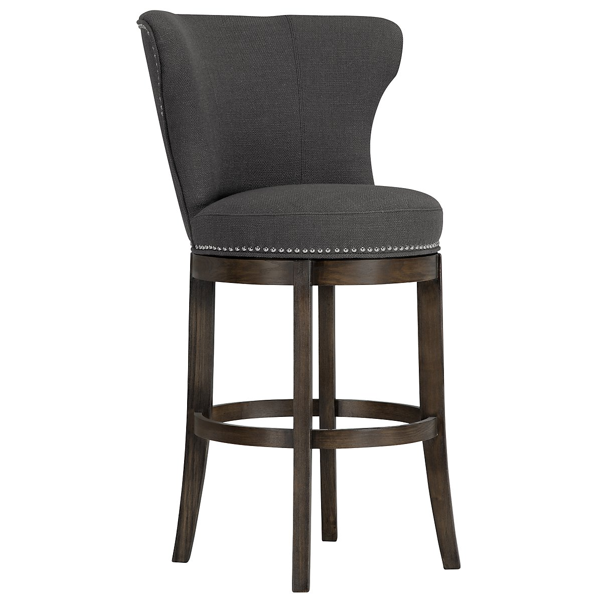 "Cayden Dark Gray Fabric 30"" Swivel Barstool"