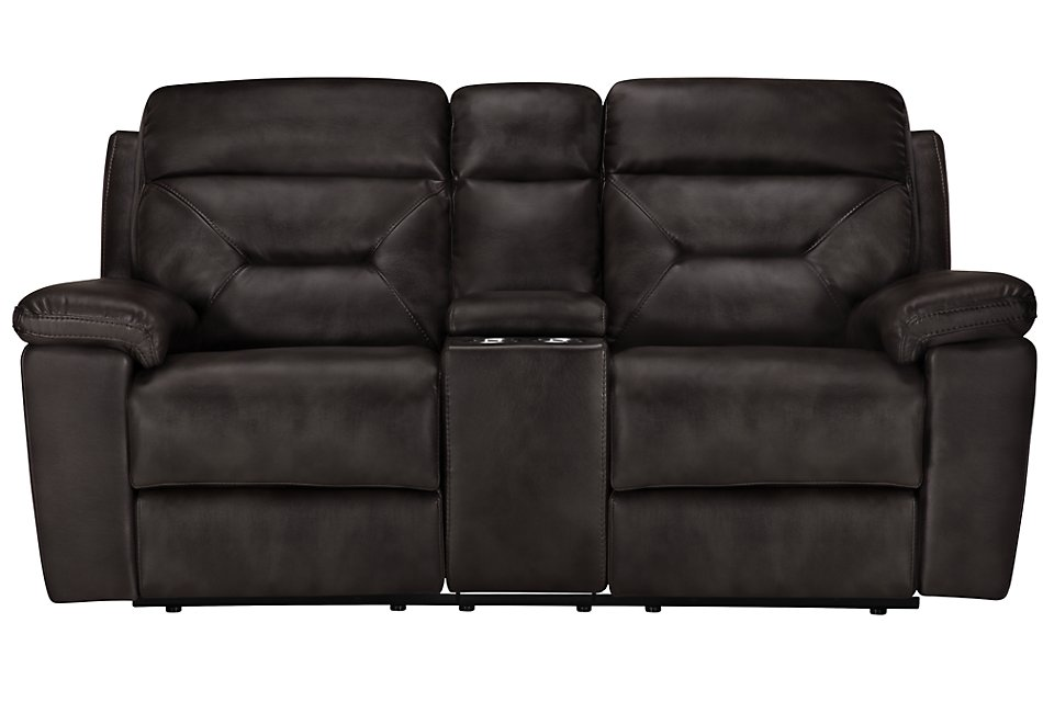 Phoenix Dark Gray  MICRO Power Reclining Console Loveseat