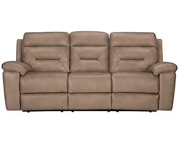 Phoenix Dark Beige Microfiber Reclining Sofa