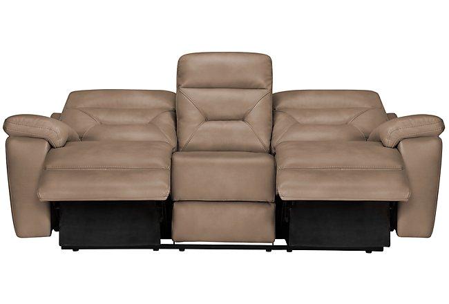 Phoenix Dark Beige Microfiber Reclining Sofa | Living Room ...