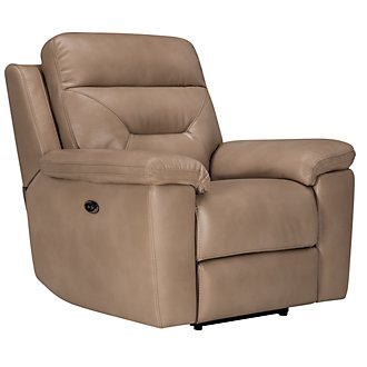 Phoenix Dark Beige Microfiber Power Recliner