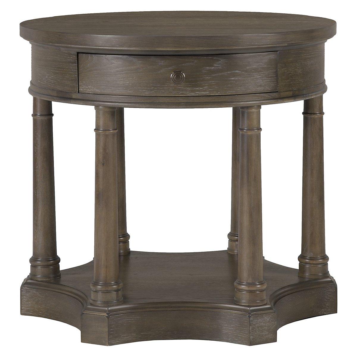 Belgian Oak Light Tone Wood Round End Table
