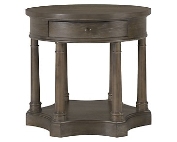 Belgian Oak Light Tone Wood Round End Table