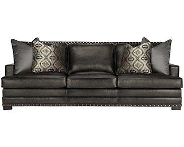 Cantor Dark Gray Leather Sofa