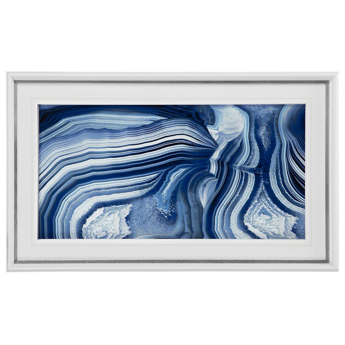 Agate2 Dark Blue Framed Wall Art