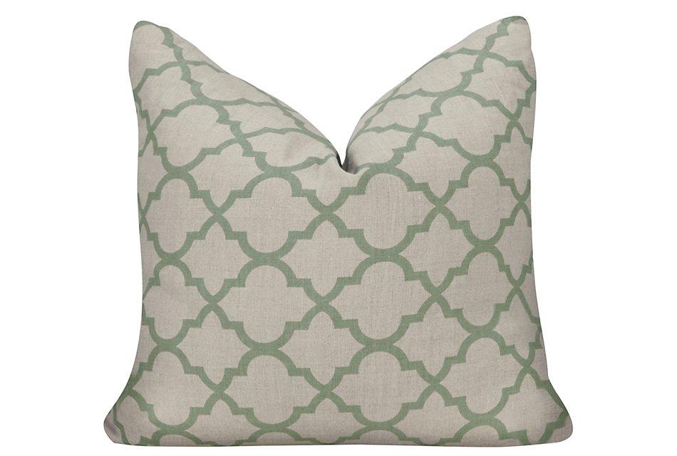 Illu Tile Light Blue Accent Pillow