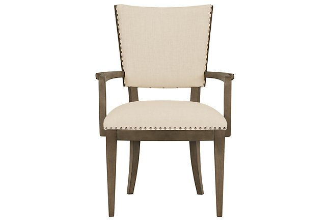 Preston Gray Wood Upholstered Arm Chair