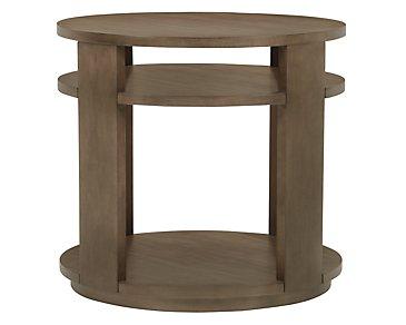 Preston Gray Large Round End Table