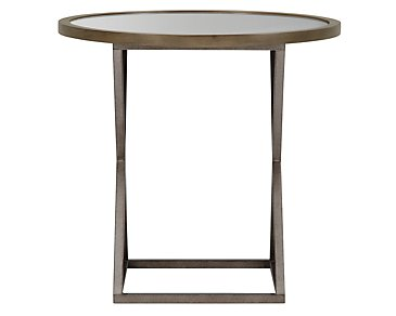 Preston Gray Glass Round End Table