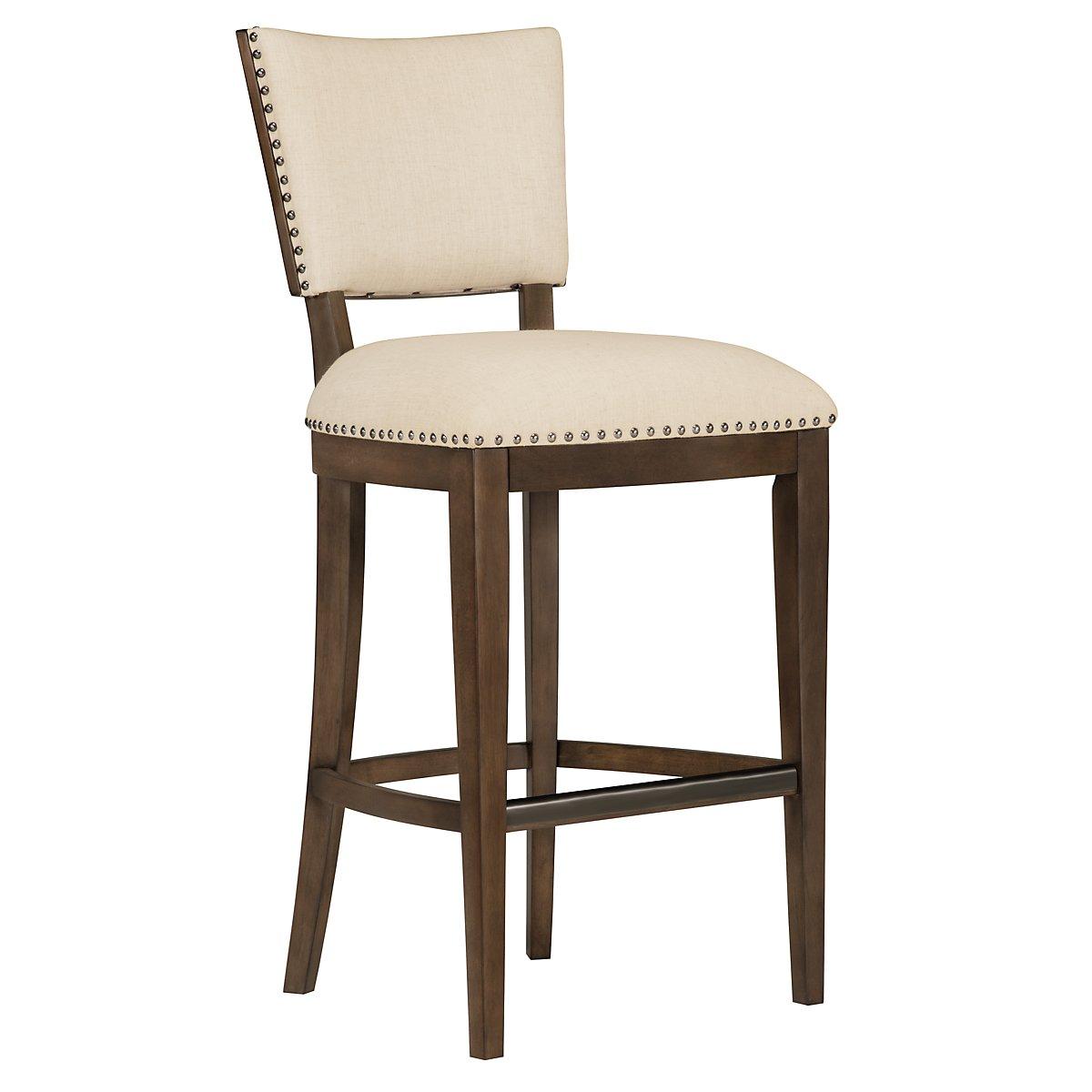 """Preston Mid Tone Wood 30"""" Upholstered Barstool"""
