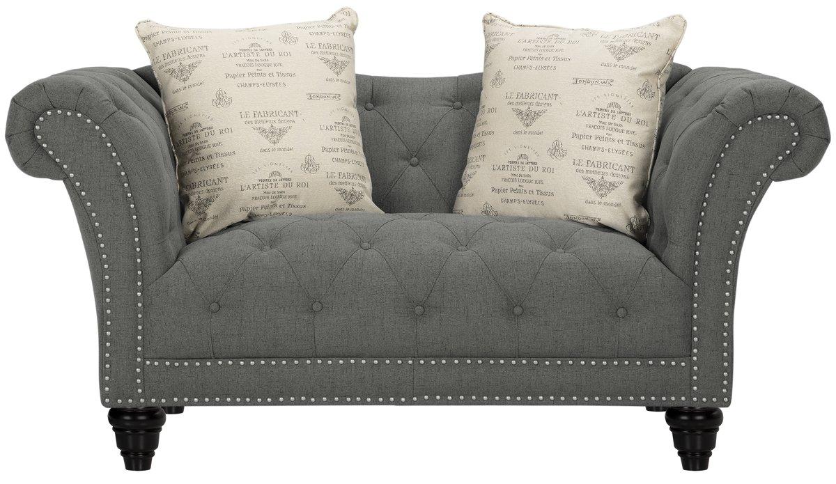 Hutton Dark Gray Fabric Loveseat