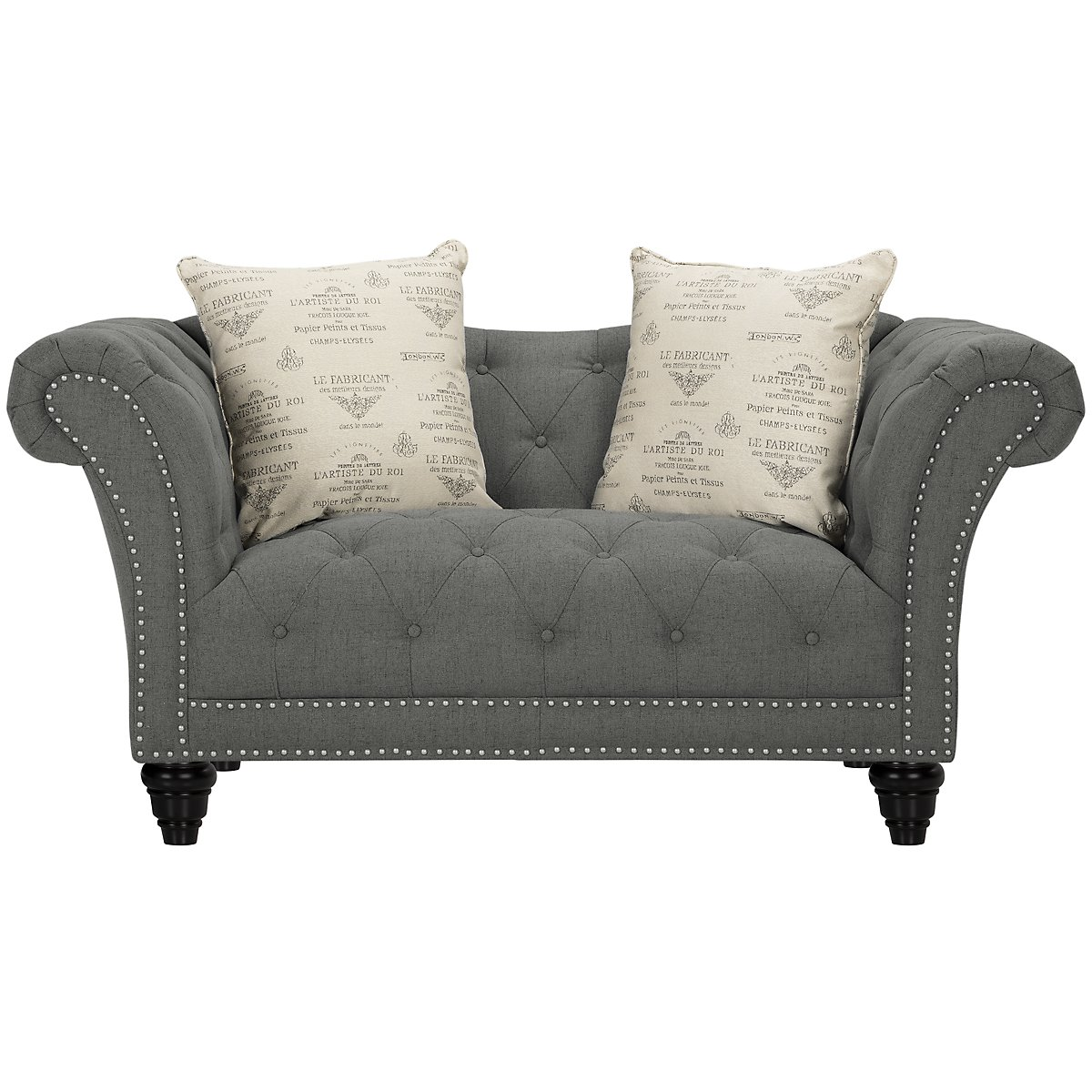 City Furniture: Hutton Dk Gray Fabric Living Room