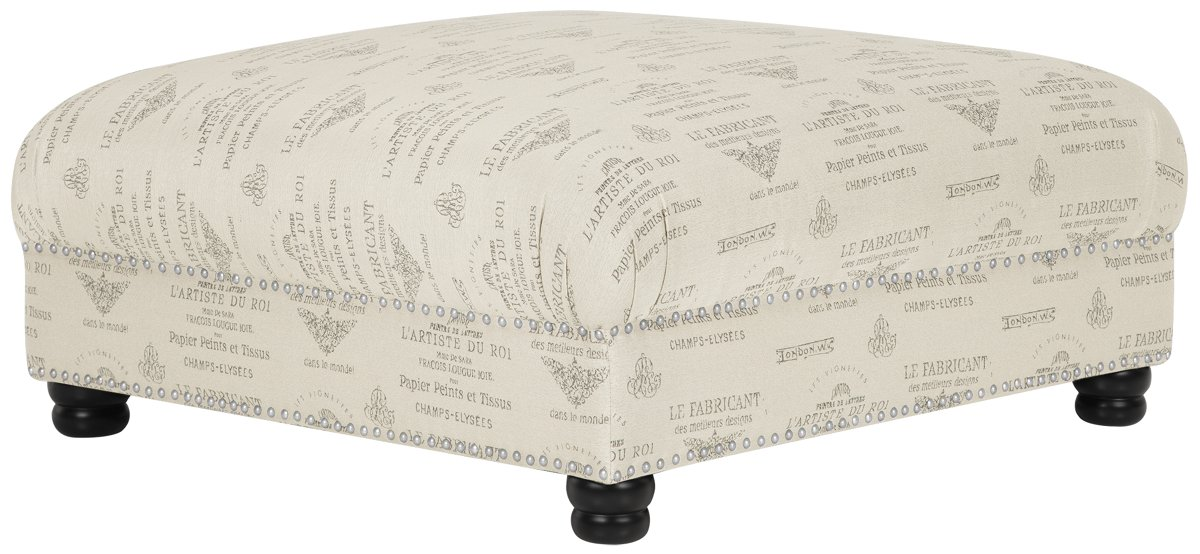 Hutton Dark Tone Fabric Cocktail Ottoman