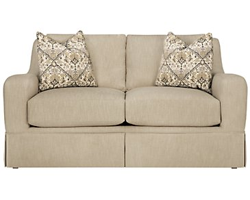 Hallie Beige Fabric Loveseat