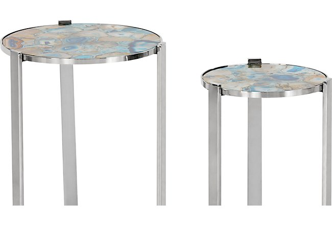 Agate Blue Set Of 2 Round Chairside Table