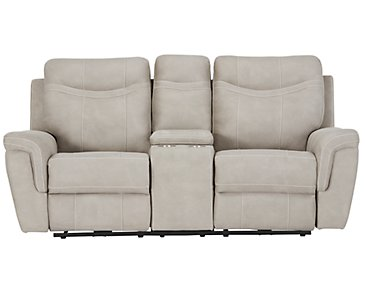 Boardwalk Pewter Microfiber Power Reclining Loveseat
