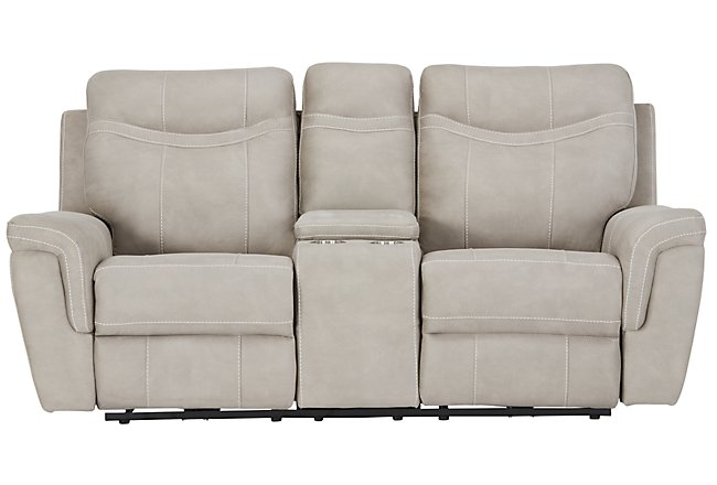 Boardwalk Pewter Micro Power Reclining Console Loveseat