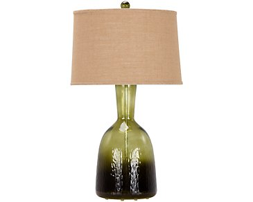 Arabella Dark Green Glass Table Lamp